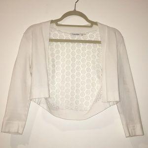 White circular designed backing crop cardigan.